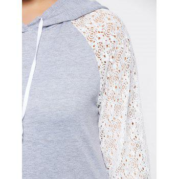 Plus Size Lace Raglan Sleeve Pocket Hoodie - GRAY GRAY