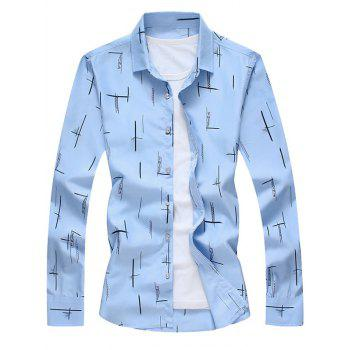 Turndown Collar Long Sleeves Print Shirt - BLUE BLUE