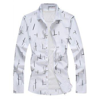Turndown Collar Long Sleeves Print Shirt - WHITE WHITE