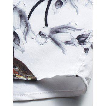Retro Flower and Bird Print Shirt - WHITE WHITE