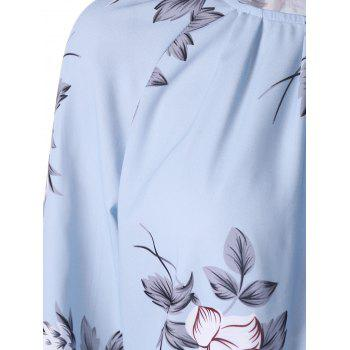 Allover Floral Long Sleeve Blouson Dress - PANTONE TURQUOISE PANTONE TURQUOISE