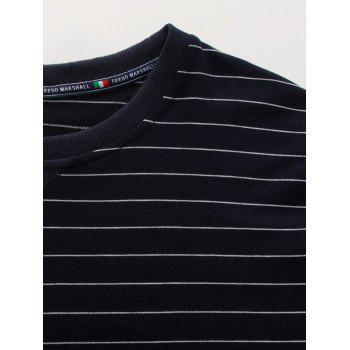 Crew Neck Long Sleeve Stripe Sweatshirt - CADETBLUE CADETBLUE