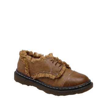Fringe Tie Up Stitching Flat Shoes - BROWN 39