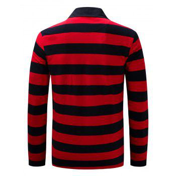 Long Sleeve Stripe Anchor Embroidered T-shirt - RED RED