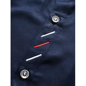 Button Down Long Sleeve Embroidery Shirt - BLUE BLUE