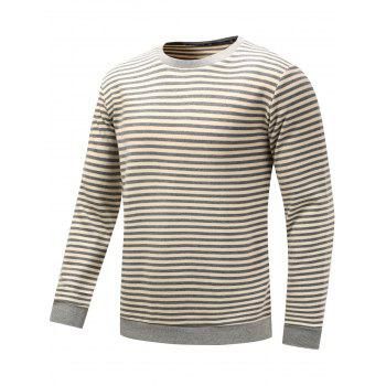 Long Sleeve Stripe Pullover Sweatshirt - GRAY GRAY