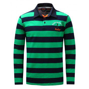 Long Sleeve Stripe Anchor Embroidered T-shirt - GREEN GREEN