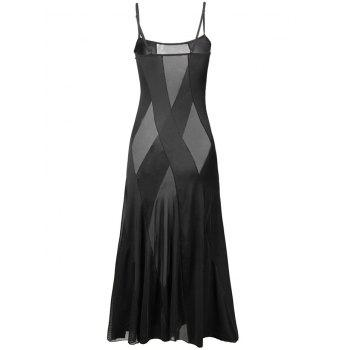 See Through Mesh Maxi Cami Dress - BLACK BLACK