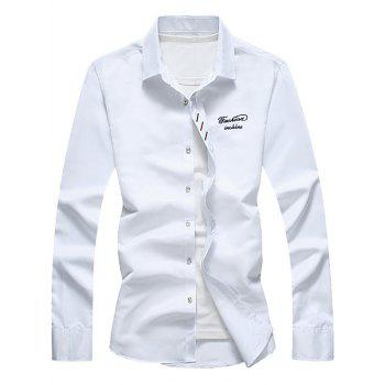 Button Down Long Sleeve Embroidery Shirt - WHITE WHITE