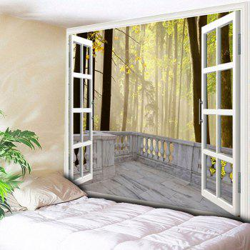 Window Forest Print Wall Hanging Tapestry - YELLOW YELLOW