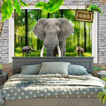 3D Elephant Print Bedroom Tapestry - GREEN GREEN
