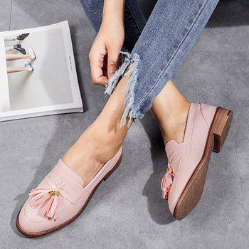 Faux Leather Tassels Flat Shoes - PINK PINK