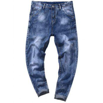 Taper Fit Zip Fly Tie Dye Jeans - DENIM BLUE DENIM BLUE