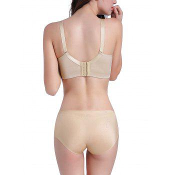 Seamless Mesh Panel Bustier Bra Set - LIGHT KHAKI LIGHT KHAKI