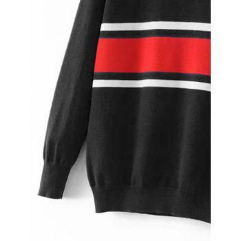 Striped Crew Neck Jumper Sweater - BLACK BLACK