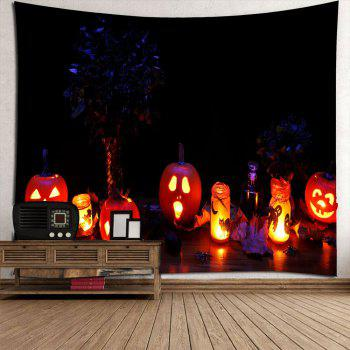 Halloween Night Pumpkin Light Wall Waterproof Tapestry - COLORFUL COLORFUL