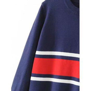 Striped Crew Neck Jumper Sweater - PURPLISH BLUE PURPLISH BLUE