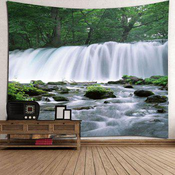 Waterfall Trees Waterproof Hanging Tapestry - GREEN GREEN