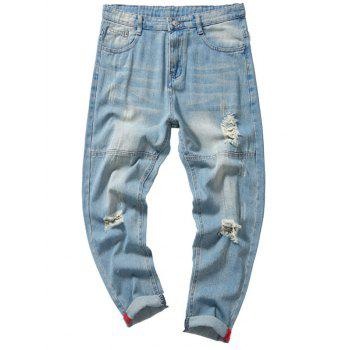 Light Wash Destroyed Nine Minutes of Jeans - CLOUDY CLOUDY