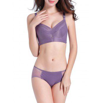 Mesh Insert Seamless Daily Bra Set - PURPLE PURPLE
