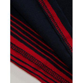 Polo Collar Stripe Long Sleeve T-shirt - BLUE/RED BLUE/RED