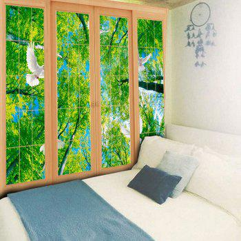 Wall Decor Window Scenery Printed Tapestry - GREEN GREEN
