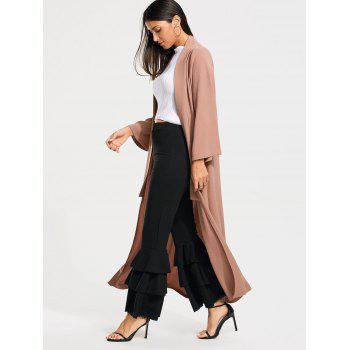 Long Maxi Cardigan with Open Front - PALE PINKISH GREY PALE PINKISH GREY
