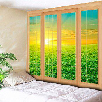 Window Grassland Printed Wall Hanging Tapestry - GREEN GREEN