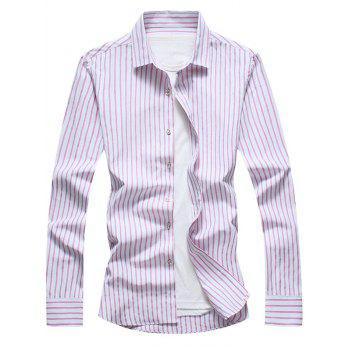 Casual Vertical Stripe Long Sleeve Shirt - RED RED