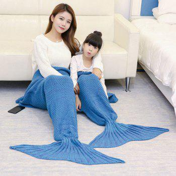 Knitted Mother and Daughter Mermaid Tail Blanket - LIGHT BLUE LIGHT BLUE