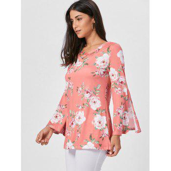Split Flare Sleeve Floral Tunic Top - ORANGE PINK S