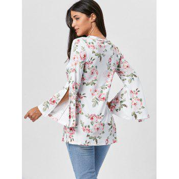Split Flare Sleeve Floral Tunic Top - WHITE M