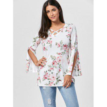Split Flare Sleeve Floral Tunic Top - WHITE S