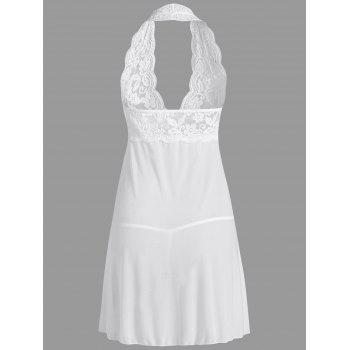Plunge Halter Lace Sheer Babydoll - WHITE WHITE