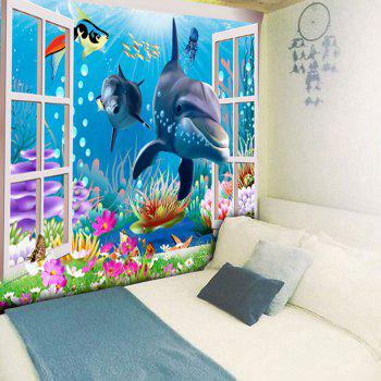 Sea World Dolphin Print Wall Art Tapestry - BLUE BLUE