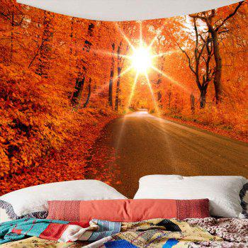 Sunlight Maple Trees Road Waterproof Wall Hanging Tapestry - RED RED