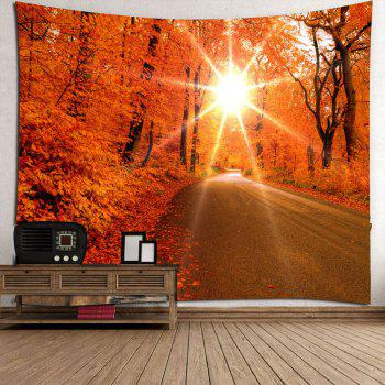 Sunlight Maple Trees Road Waterproof Wall Hanging Tapestry - RED W79 INCH * L79 INCH