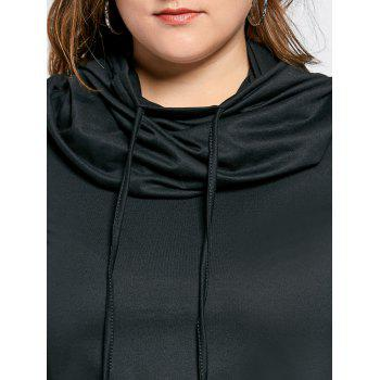 Plus Size Funnel Collar Maxi Asymmetric Hoodie - BLACK 5XL