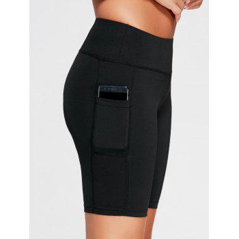 Elastic Waist Running Shorts with Pocket - BLACK S