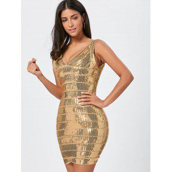 Glitter Sequins Bandage Dress - GOLDEN M