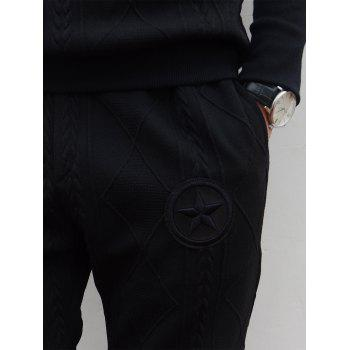 Geometric Emboss Star Embroidered Hoodie Twinset - BLACK XL