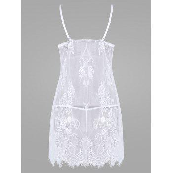 Lace Sheer Split Slip Babydoll - Blanc 2XL