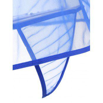 Mini Sheer Slip Lingerie Dress - BLUE M