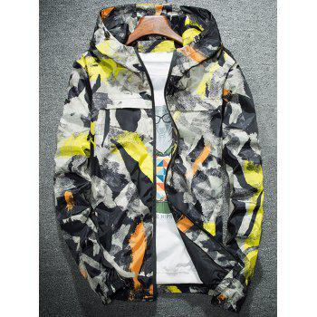 Splatter Paint Camouflage Lightweight Jacket - YELLOW 4XL