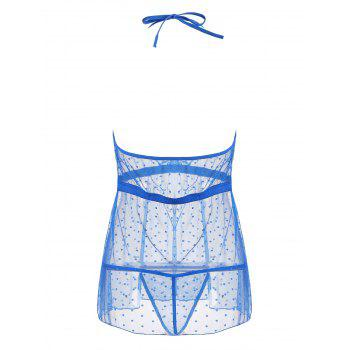 Lace Trim Mesh Sheer Babydoll - BLUE S