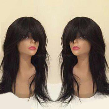 Long Neat Bang Slightly Curly Synthetic Wig - BLACK BLACK