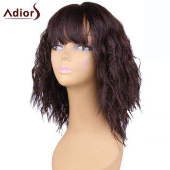 Adiors Short Full Bang Fluffy Natural Wave Bob Synthetic Wig - BROWN