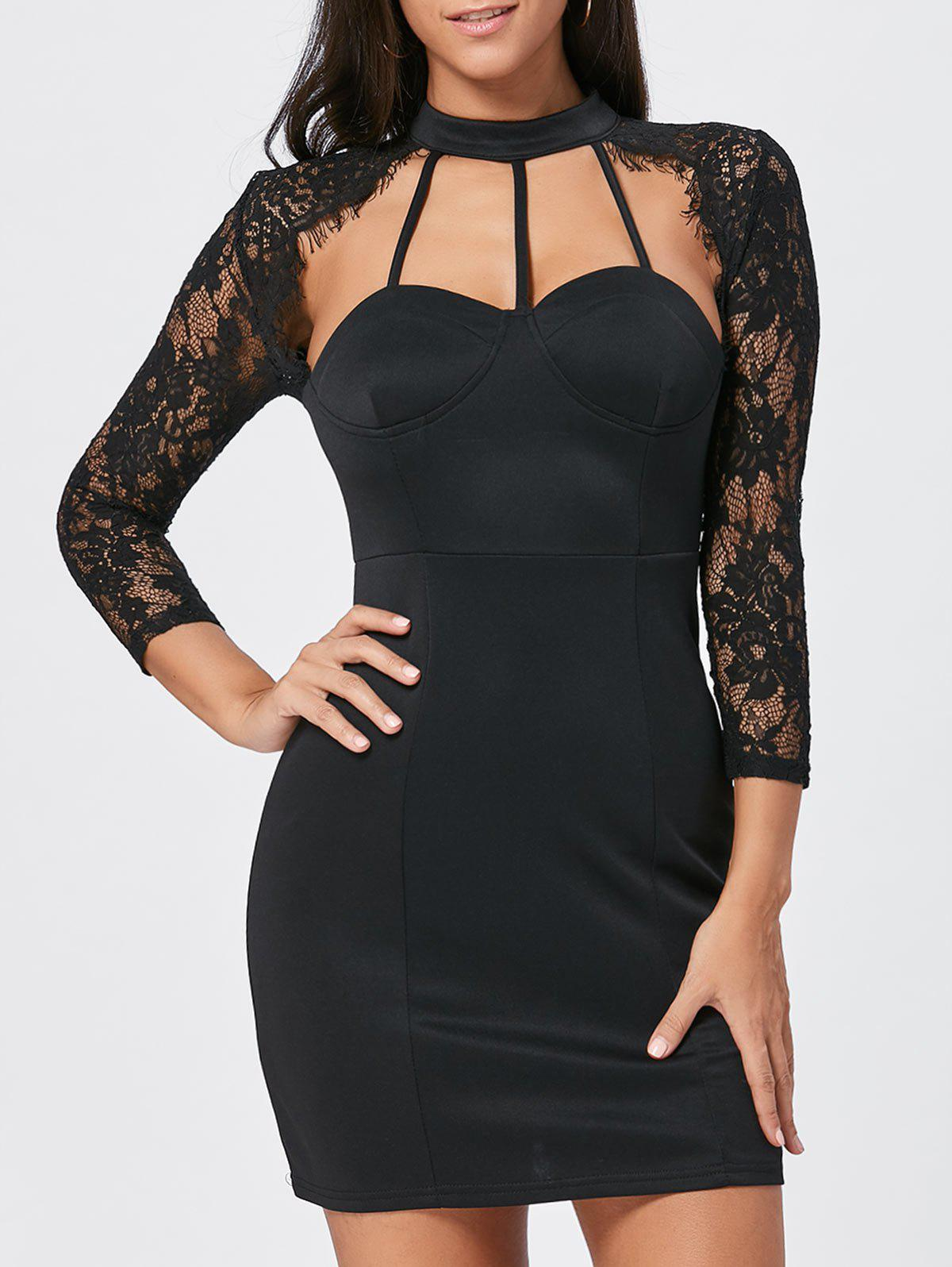 Lace Panel Cut Out Bodycon Dress - BLACK M