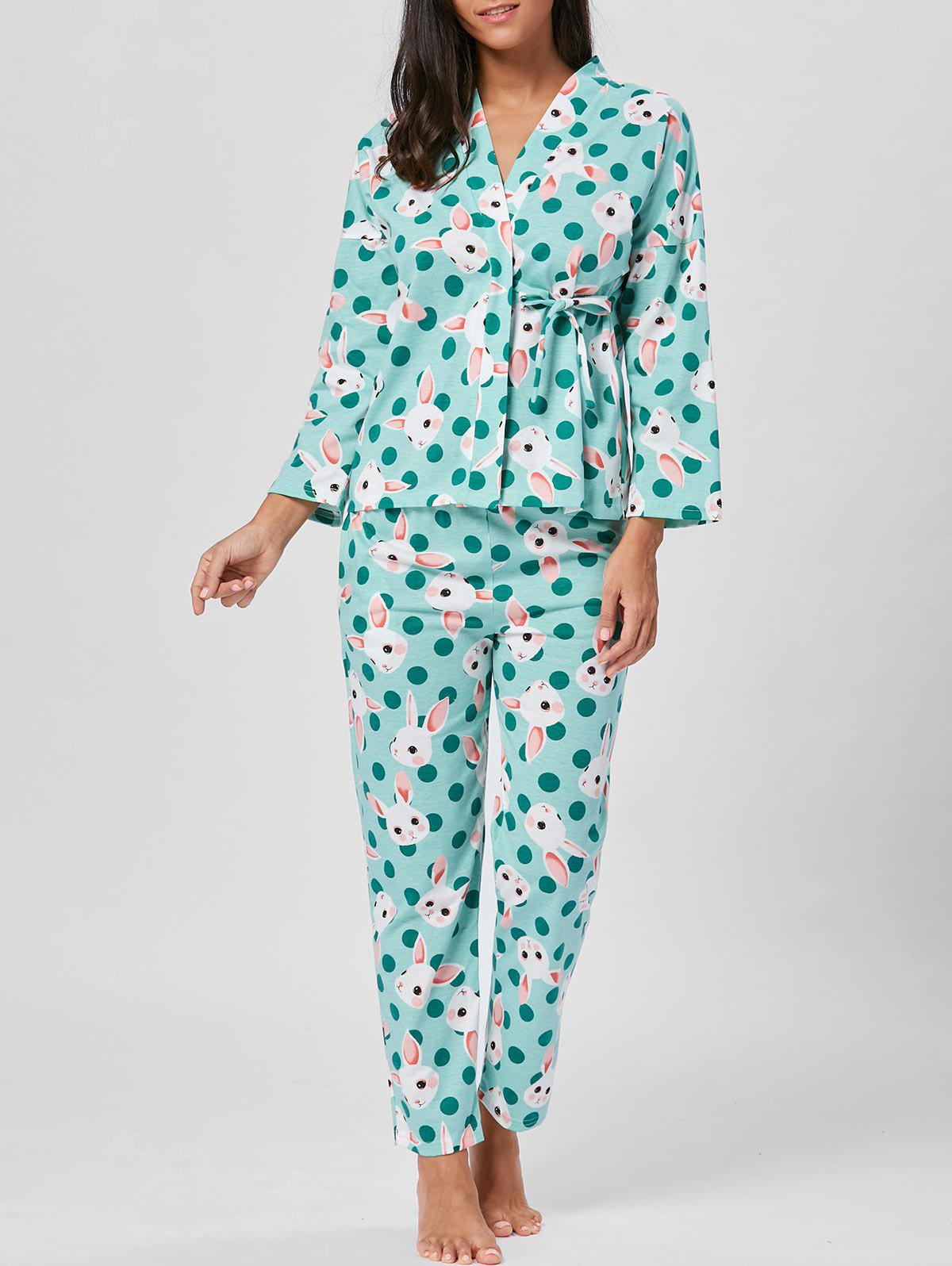 Rabbits Print Wrap Long Sleeve Pajamas Set - GREEN L