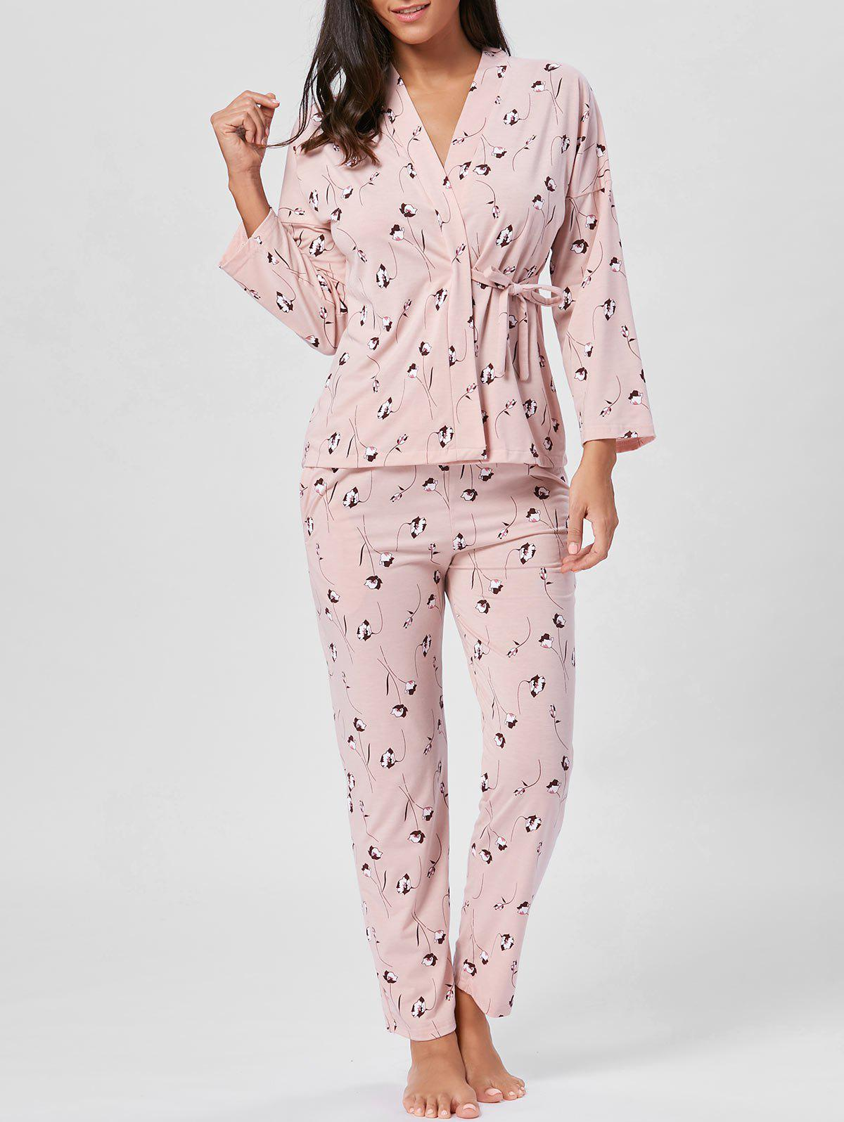 Long Sleeve Floral Wrap PJ Set - LIGHT PINK XL